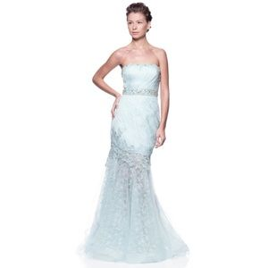 Dresses & Skirts - light blue lacy beaded strapless gown prom